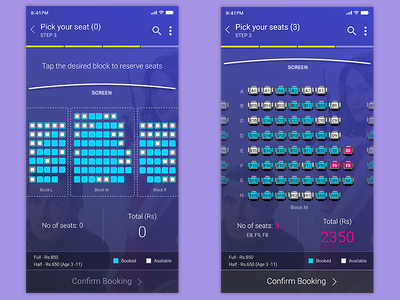 Movie Booking App: Buy Tickets mobile app design ios android cinema booking buy tickets seats movie app illustration prototype ui ux