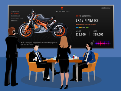 Conversational Chat Bot on large display unit voice recognition personal assistant ai conversation motorbike illustration chatbot cognitive prototype ux artificial intelligence