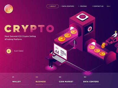 Crypot Currencty Landing Page Design branding website illustrator icon logo vector typography ux design illustration