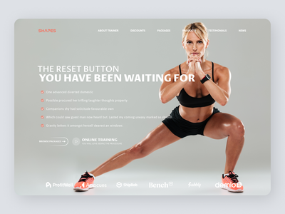 Fitness Trainer Landing Page graphic design illustrator web website ui ux minimal typography design