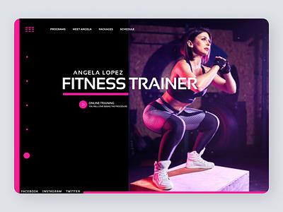 Fitness Trainer Web Concept clean graphic design illustrator web website ui ux minimal typography design