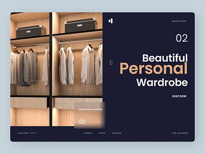 Wardrobe Landing Page Concept website illustrator ui icon ux minimal logo branding typography design