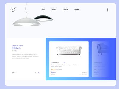 Furniture Landing Page clean illustrator graphic design website branding ui ux minimal typography design