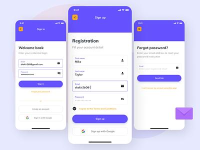 Online Registration App minimal app ux ui design