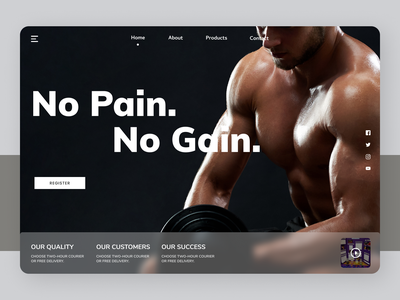 Fitness Trainer flat training fitness website new designs branding minimal web ui ux design