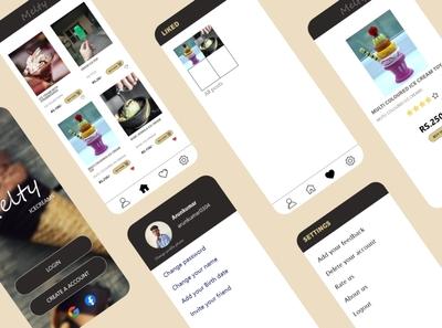 Melty ice creams mobile app design