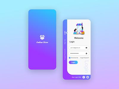 Online Store Login Screen UI Design Mockup graphic design vector mobile aap ui design ui mobile ui