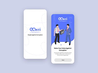 E-Anti Corruption App Ui Mockup Design graphic design vector illustration mobile aap ui mobile ui ui