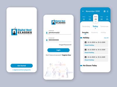 Digital Nest Classes App Login And Calendar UI Design Mockup vector illustration ui mobile ui mobile aap ui