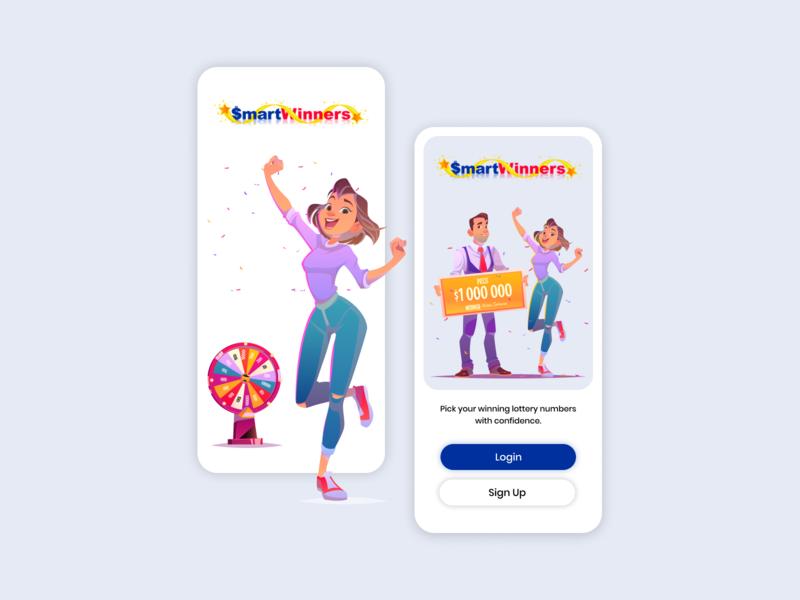 Smart Winners App Login Screen UI Design Mockup illustraion vector ui mobile ui mobile aap ui