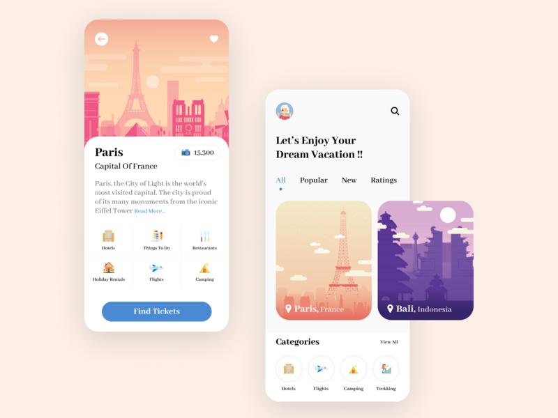 Travel Mobile App UI Mockup Design app design ux graphic design vector illustration ui mobile ui mobile aap ui