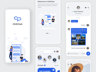 ChitChat App Mobile UI Design Mockup app ux graphic design vector illustraion design ui mobile ui mobile aap ui