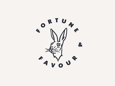 Fortune & Favour heritage animal luck fortune branding identity logo hand drawn illustration hare rabbit grit texture