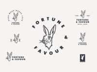 Fortune & Favour Lockups lockups texture rabbit lucky luck logo illustration identity heritage hare hand grit fortune favour favor branding animal
