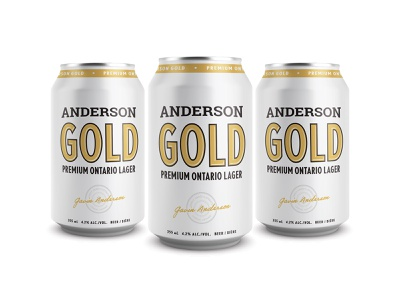 Anderson Gold mockup can canada ontario craft brewery craft beer brewery premium lager beer gold