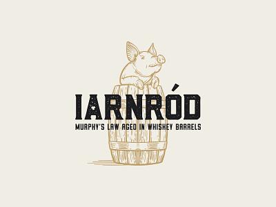 IARNRÓD barrel pig craft beer brewing packaging label ale irish whiskey british columbia kamloops nobel pig iron road