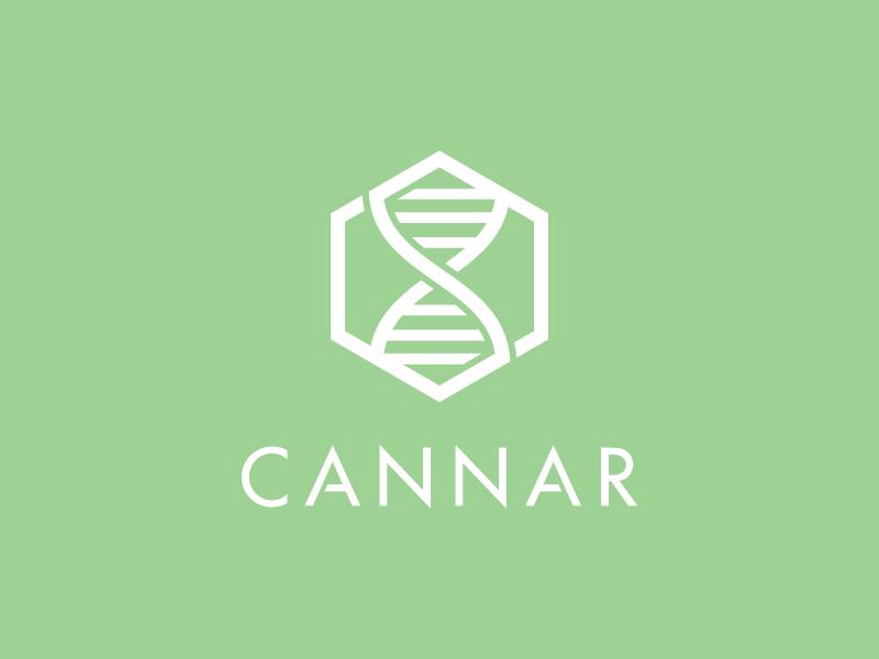 Cannar Identity (Alt.) logo identity branding cannabis cannar dna marijuana molecule thc pot strain hexagon