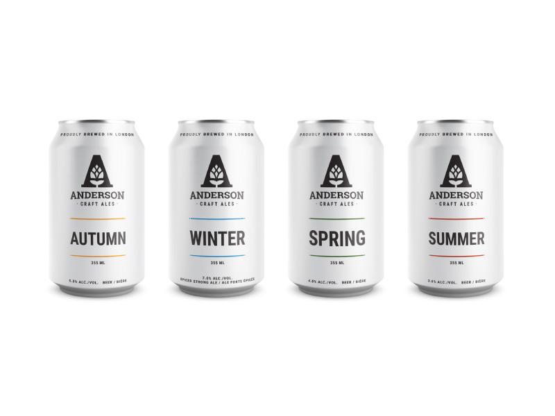 Anderson Craft Ales Lineup minimalism packaging brewery logo identity hops craft beer canada can branding beer