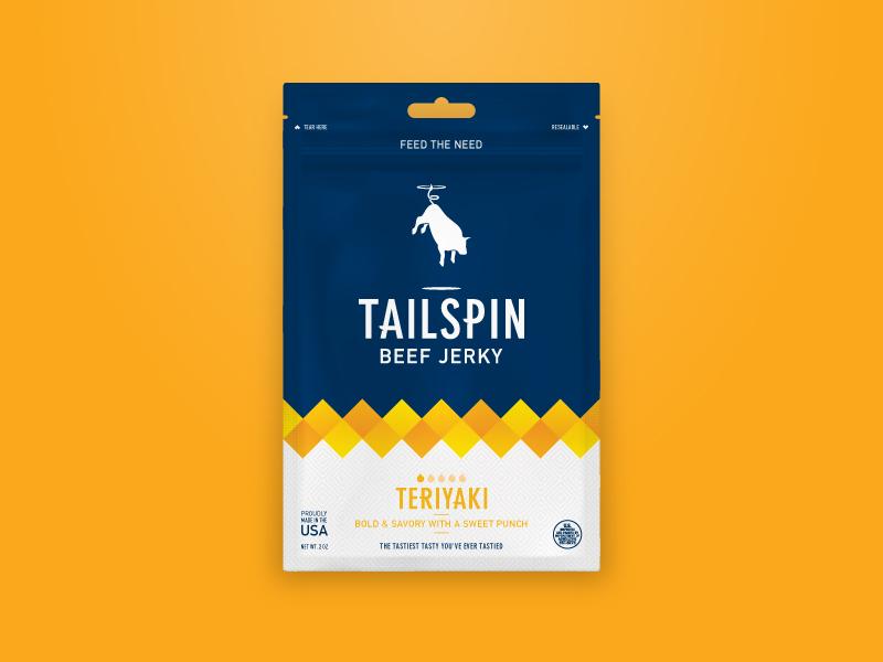 Tailspin Jerky - Teriyaki teriyaki package design packaging identity cow bull flying spin tailspin jerky beef jerky branding