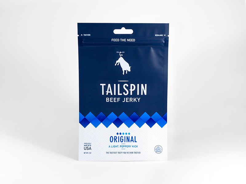 Tailspin Jerky - Original branding beef jerky jerky tailspin spin flying bull cow identity logo packaging package design