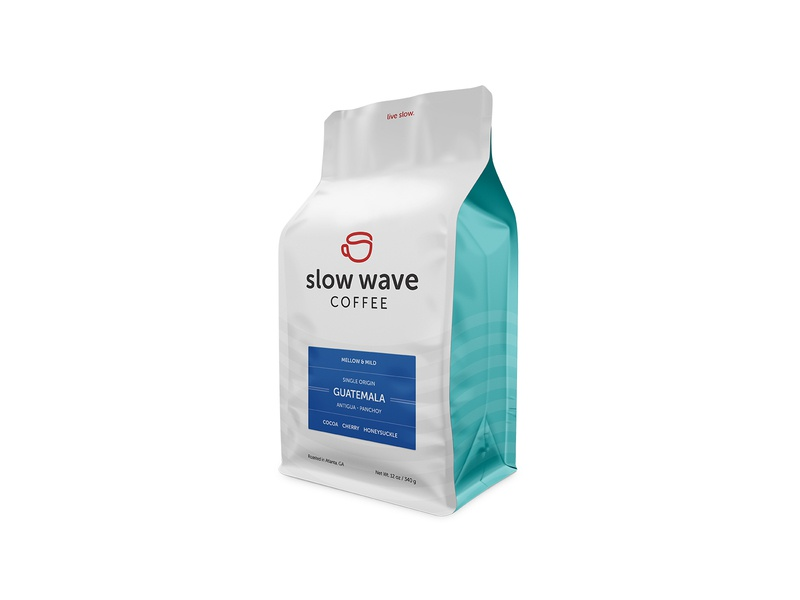 Mellow & Mild wave third wave slow roaster packaging mug label cup coffee branding atlanta