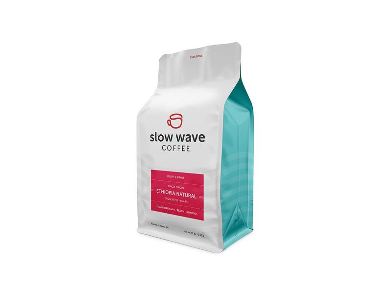 Fruity & Funky wave third wave slow roaster packaging mug label cup coffee branding atlanta