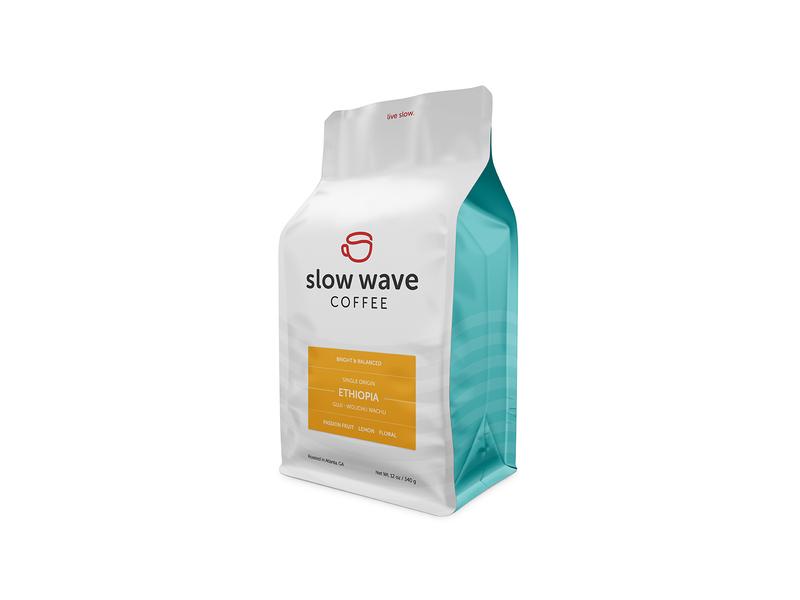 Bright & Balanced wave third wave slow roaster packaging mug label cup coffee branding atlanta