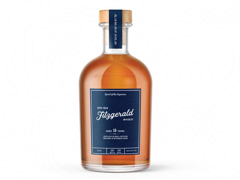 Fitzgerald Whiskey Bottle ship lake superior superior lake packaging identity edmund fitzgerald bourbon whiskey