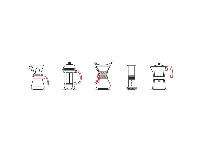 Coffee Icons minimal brewing slow wave coffee carafe pour over aeropress french press chemex moka pot icons coffee