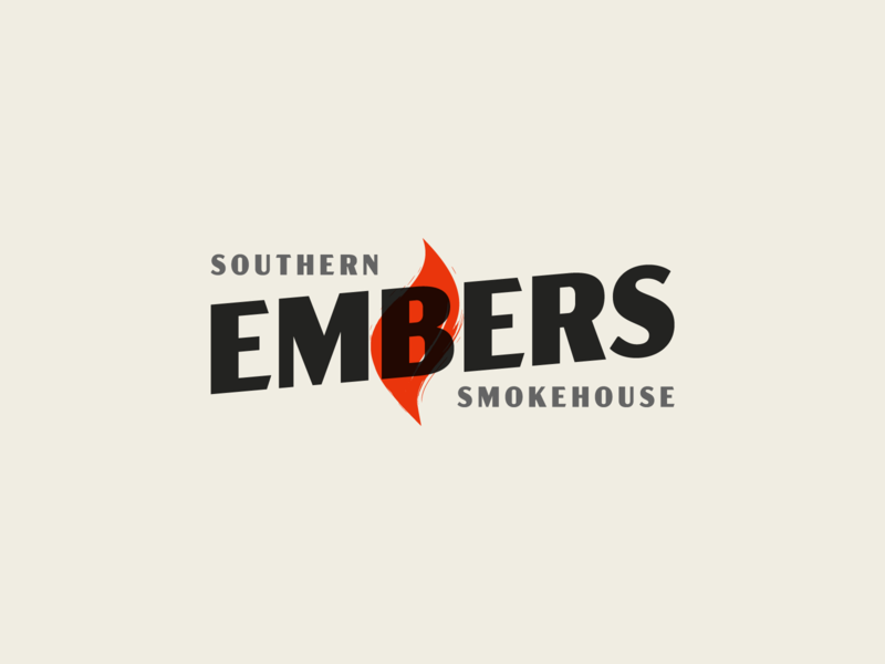 Embers sauce flame grill restaurant bbq smokehouse smoke southern embers identity branding
