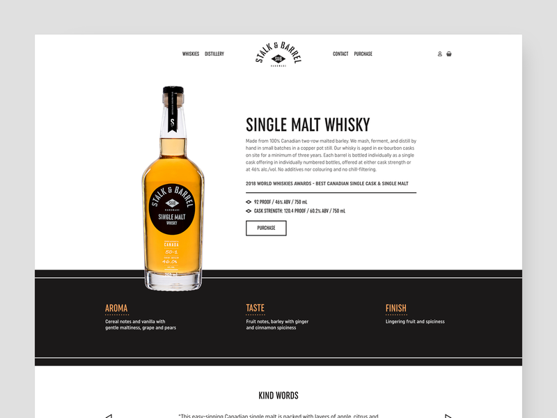 Stalk & Barrel Product Page Concept craft product page landing page distillery barrel stalk  barrel canadian whiskey whisky single malt