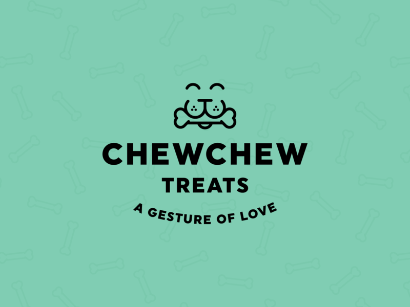 Chew Chew Treats identity branding logo animals happy smile love gesture chew pet treat dog