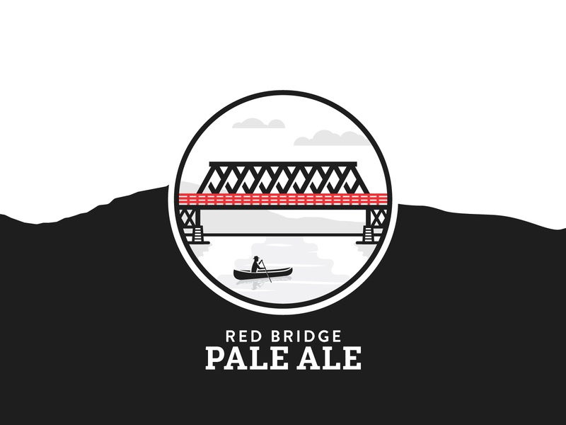 Red Bridge Pale Ale bridge pale ale illustration railway train locomotive craft beer british columbia brewery branding