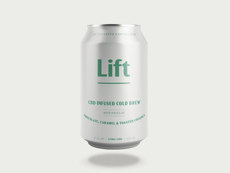 Lift Infused Cold Brew Concept caramel chocolate notes can packaging cold brew coffee marijuana cannabis cbd elevated lift