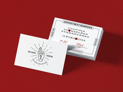 Blood Oath Tattoo Collective Concept appointment card blood collective cut flash dagger ink linework oath tattoo tattoo logo tattoo shop tattoo studio traditional