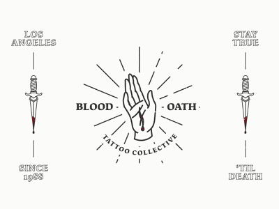 Blood Oath Tattoo Collective traditional tattoo studio tattoo shop tattoo logo tattoo oath linework knife ink dagger flash cut collective blood