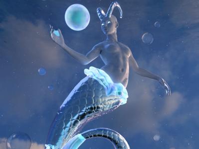 Capricorn zodiac signs capricorn astrology surrealism surreal landscape design render dailyrender blender3d 3d art 3d