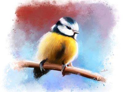 Yellow birdie digital painting illustration digital artist digital art