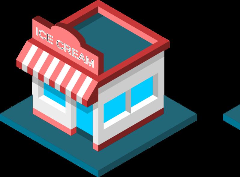 Isometric Ice Cream Shop axonometric icon isometric design isometric art isometric design 3d inkscape