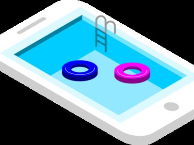 IPhone Swimming Pool inkscape isometric art isometric design isometric design 3d illustration