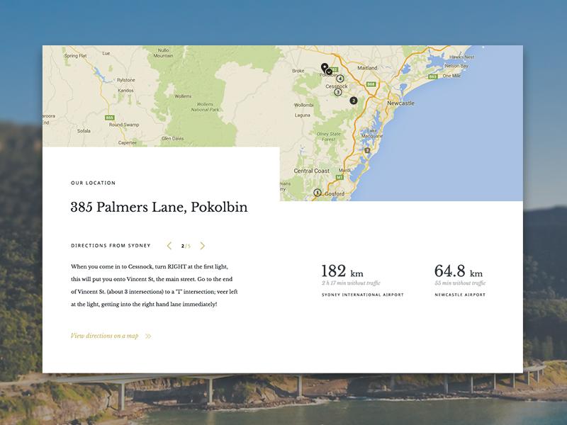 Location & directions card location map ux ui cards blocks web design webdesign