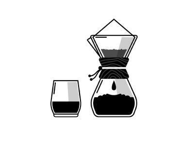 Chemex filter brewing monochrome illustration chemex coffee