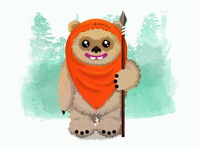 Wicket illustration return of the jedi star wars ewok