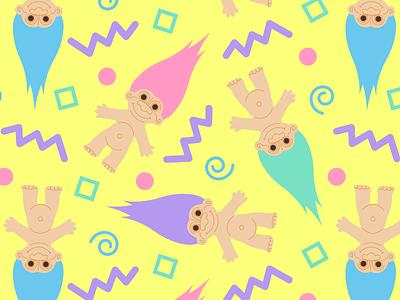 Trollpaper pastel illustration 90s troll tile wallpaper pattern russ troll