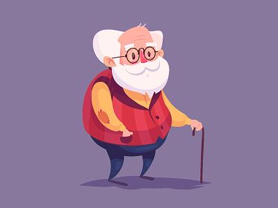 Grandpa game smile old man old grandfather grandpa cartoon free morqua illustration vector character 2d krol