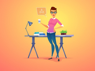 Young woman with coffee lamp grass book coffee flat cartoon design icon character woman work morquastore morqua vector 2d illustration girl