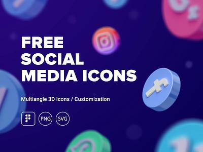 FREE 3D Social Icons png pack gif animation c4d morquastore morqua freebie free ui design uxdesign 3d icons svg social ux ui figma icons icon 3d