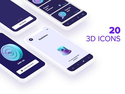 3D ICONS for Apps web 3d illustration illustration app gif animation loop freebie free ux design ui design ux uiux ui png obj c4d cinema4d 3d figma