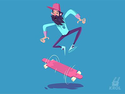 Funny hipster on longboard morquastore morqua 2d people flat design cute character longboard vector illustration krol vintage hipster