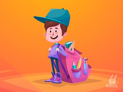 Schoolboy 2d vector sketch illustration design icon boy school character cartoon funny cute